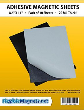 """upvoted.top:10 Adhesive Magnetic Sheets - 8.5"""" x 11"""" - 20 mil Magnet - Peel & Stick"""