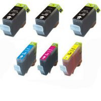 upvoted.top:6 Pack (3xBlack + 1 of Ea. Color) Compatible Ink w/ Chip for Canon Pixma iP3300 iP3500 MP510 MX70...