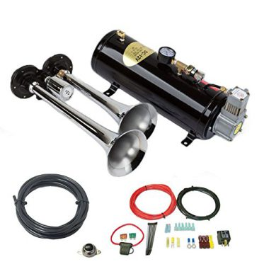 upvoted.top:Air Horn Kit for Trucks; Two-Trumpet w/110 PSI 12-Volt Compressor