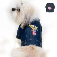 upvoted.top:Denim Eagle and American Flag Dog Jacket (Medium)