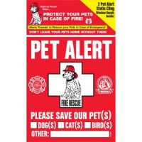upvoted.top:PET SAFETY ALERT 234001 2-Count Static Cling Window Decal for Pets