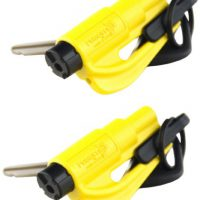 upvoted.top:Resqme Seatbelt Cutter and Window Glass Breaker 2 in 1 Quick reliable Car Escape KeyChain Tool Ye...