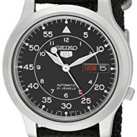 upvoted.top:Seiko Men's SNK809 Seiko 5 Automatic Stainless Steel Watch with Black Canvas Strap
