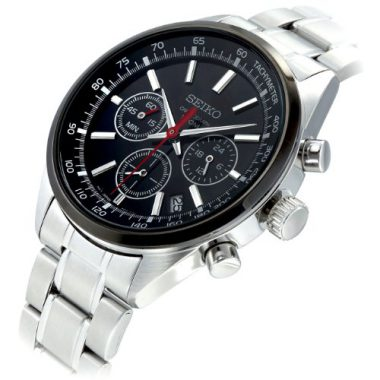 upvoted.top:Seiko Men's SSB045 Silver Stainless-Steel Quartz Watch with Black Dial