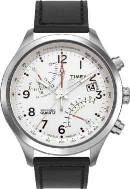 upvoted.top:Timex Men's T2N701 Intelligent Quartz SL Series Fly-Back Chronograph Black Leather Strap Watch