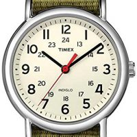 upvoted.top:Timex Unisex T2N651 Weekender Olive Nylon Slip-Thru Strap Watch