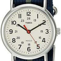 upvoted.top:Timex Unisex T2N654 Weekender Blue/Gray Stripe Nylon Slip-Thru Strap Watch