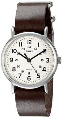 upvoted.top:Timex Unisex T2N893 Weekender Silver-Tone Watch with Leather Band
