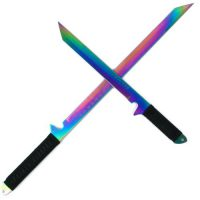 upvoted.top:Whetstone Cutlery Rainbow Blade Full Tang Ninja Sword Set with Sheaths